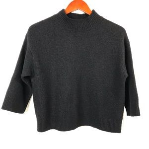 Vince Wool Crew Neck Boxy Sweater 3/4 Sleeve Sz S